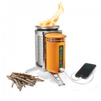 A stove and a charger that turns fire into electricity